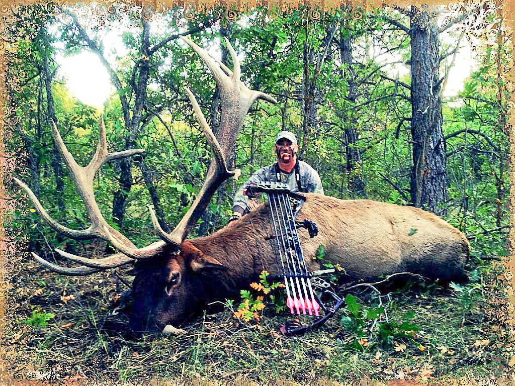 Happy bow hunter with a massive bull elk.